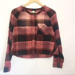Urban Outfitters BDG Plaid Cropped Button Down Top